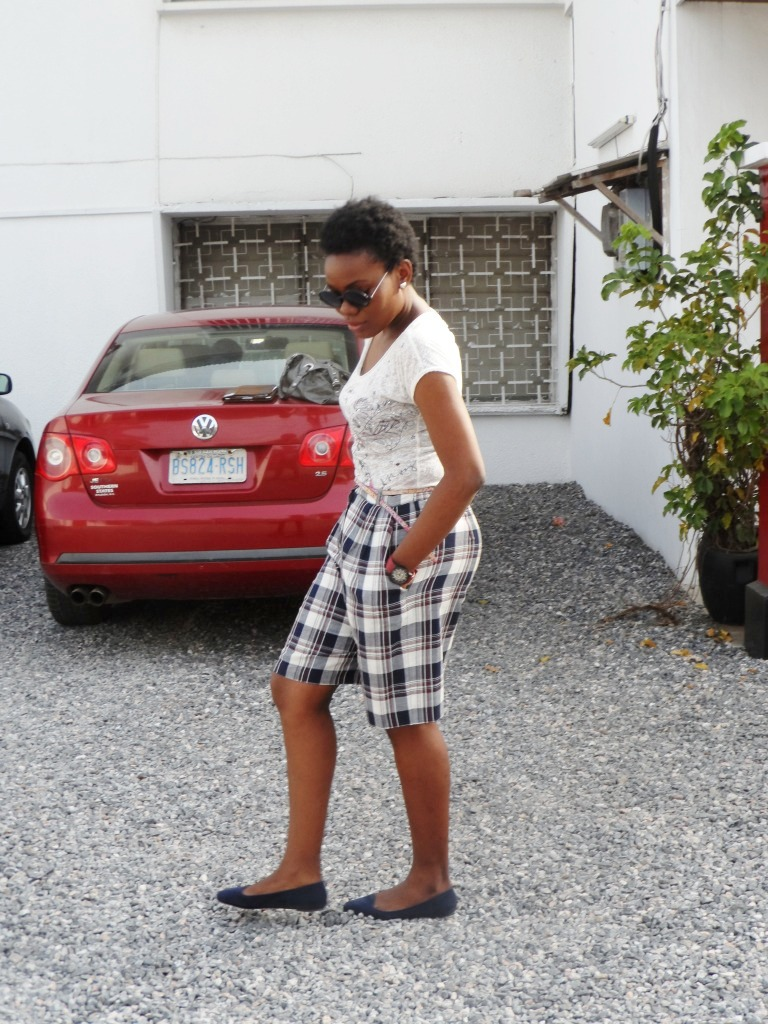 Plaid shorts and Tee